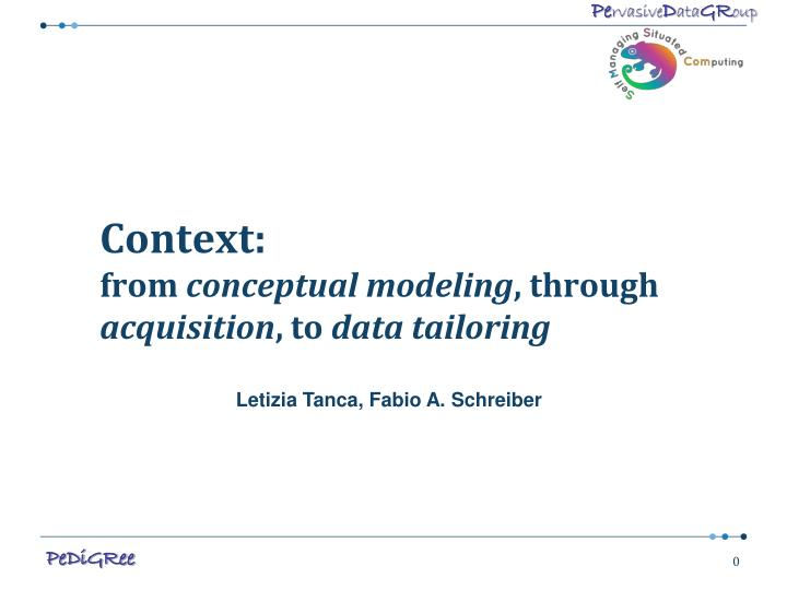 Context from conceptual modeling through acquisition to data tailoring