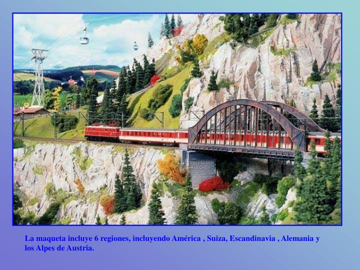 La maqueta incluye 6 regiones, incluyendo América , Suiza, Escandinavia , Alemania y los Alpes de Austria.