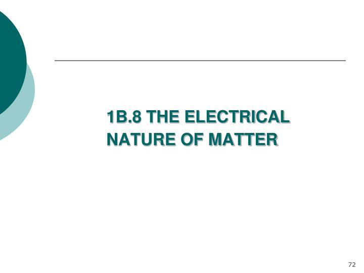 1B.8 THE ELECTRICAL NATURE OF MATTER