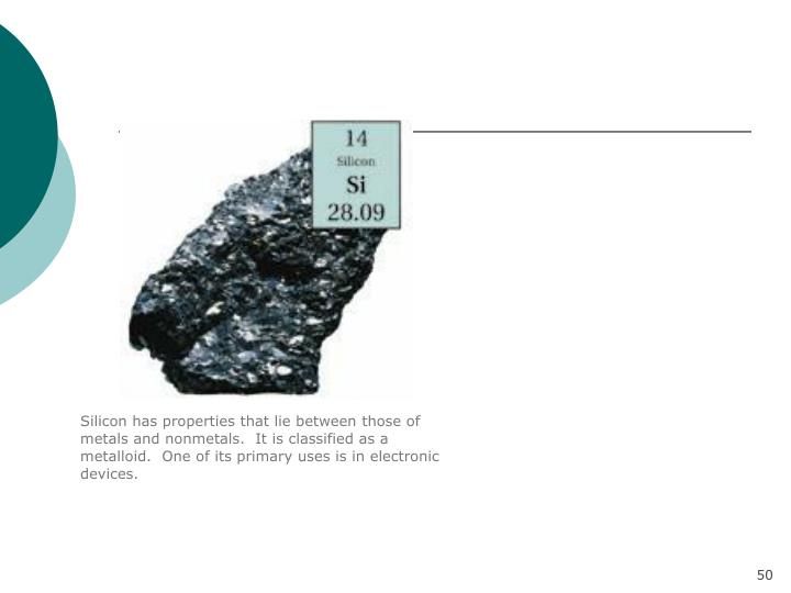 Silicon has properties that lie between those of metals and nonmetals.  It is classified as a metalloid.  One of its primary uses is in electronic devices.