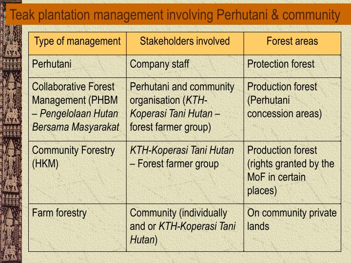 Teak plantation management involving Perhutani & community