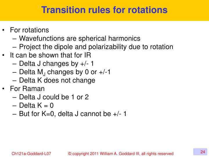 Transition rules for rotations