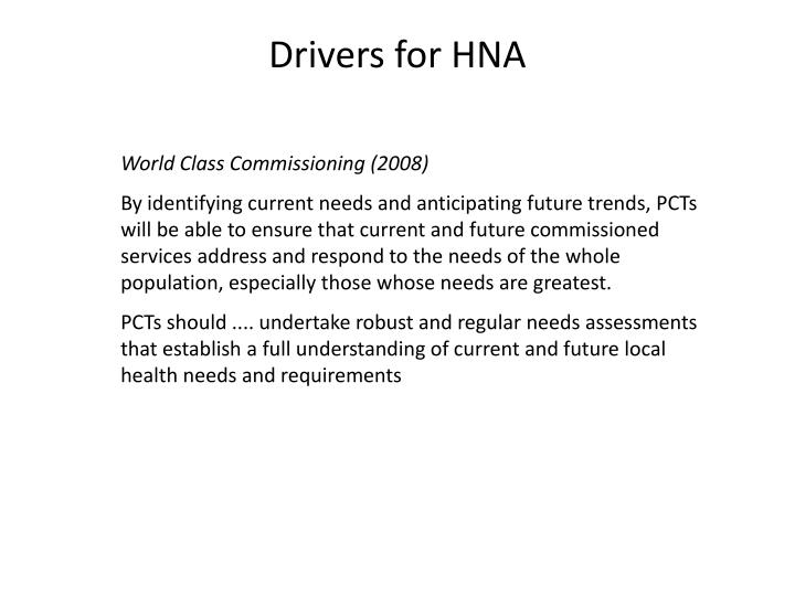 Drivers for HNA