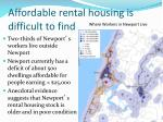 affordable rental housing is difficult to find1