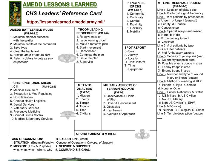 AMEDD LESSONS LEARNED