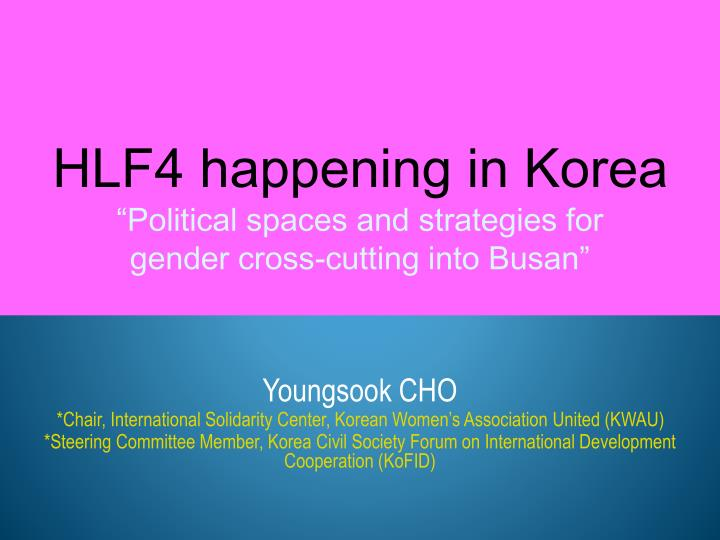 hlf4 happening in korea political spaces and strategies for gender cross cutting into busan n.