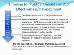 timeline for political debates on aid effectiveness development