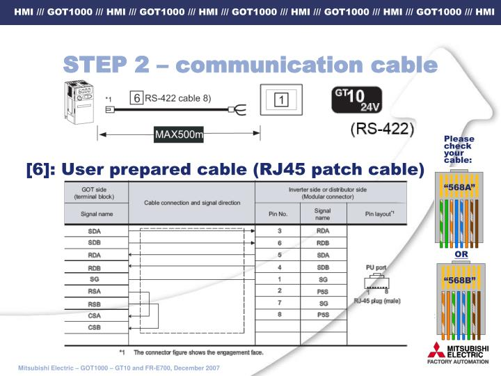 STEP 2 – communication cable