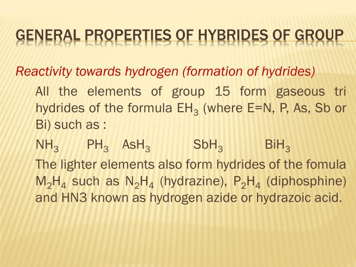 Reactivity towards hydrogen (formation of hydrides)