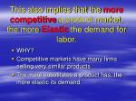 this also implies that the more competitive a product market the more elastic the demand for labor
