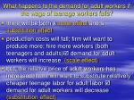 what happens to the demand for adult workers if the wage of teenage workers falls
