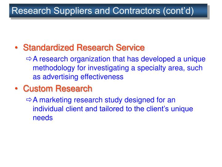 Research Suppliers and Contractors (cont'd)