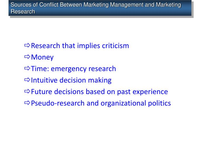 Sources of Conflict Between Marketing Management and Marketing Research
