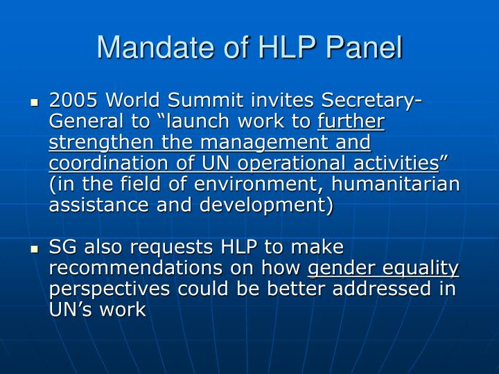 Mandate of HLP Panel