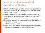 details of the simulation model one cohort of workers