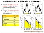mc description of data and systematics