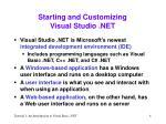 starting and customizing visual studio net
