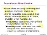 innovation as value creation
