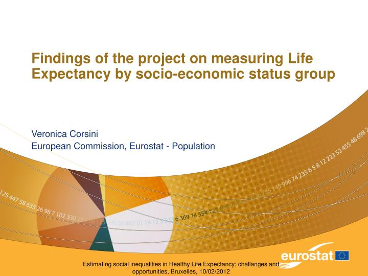 findings of the project on measuring life expectancy by socio economic status group n.