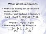 weak acid calculations