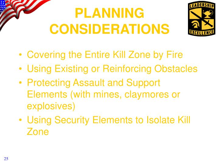 Covering the Entire Kill Zone by Fire