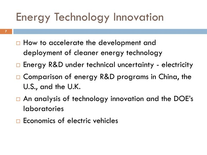 Energy Technology Innovation