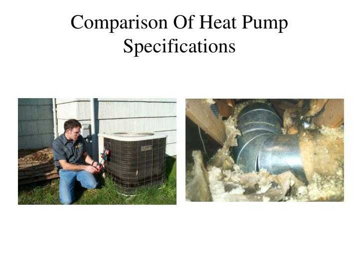 Comparison of heat pump specifications