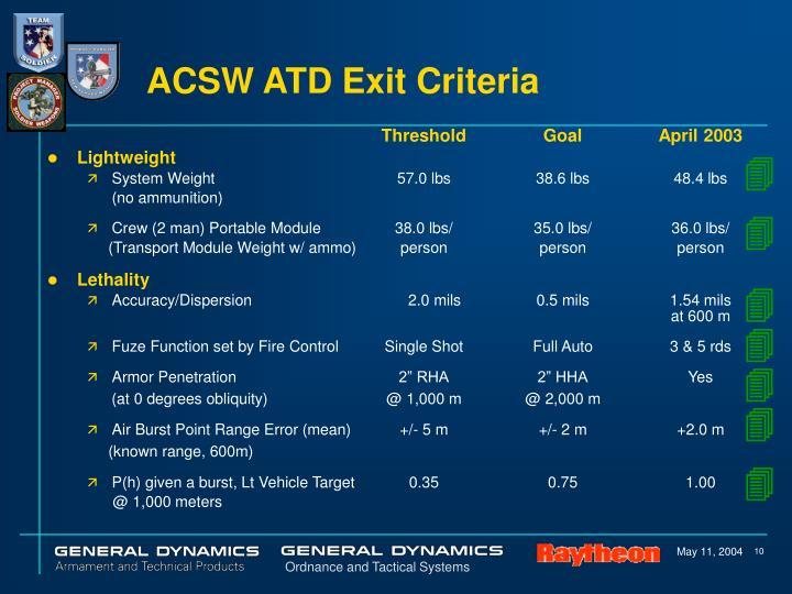 ACSW ATD Exit Criteria