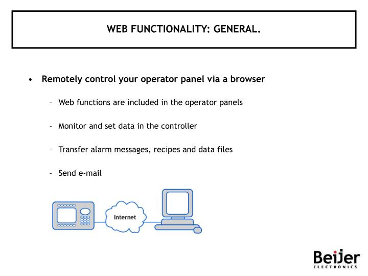 WEB FUNCTIONALITY: GENERAL.