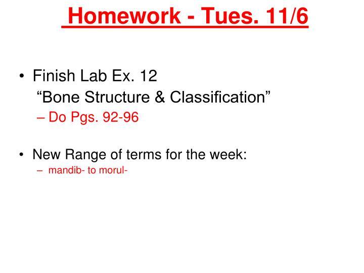 Homework tues 11 6