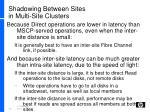 shadowing between sites in multi site clusters