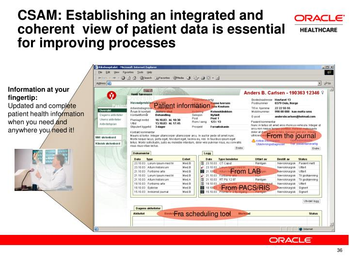 CSAM: Establishing an integrated and coherent  view of patient data is essential for improving processes