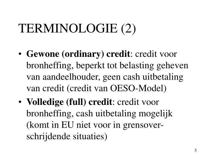 TERMINOLOGIE (2)