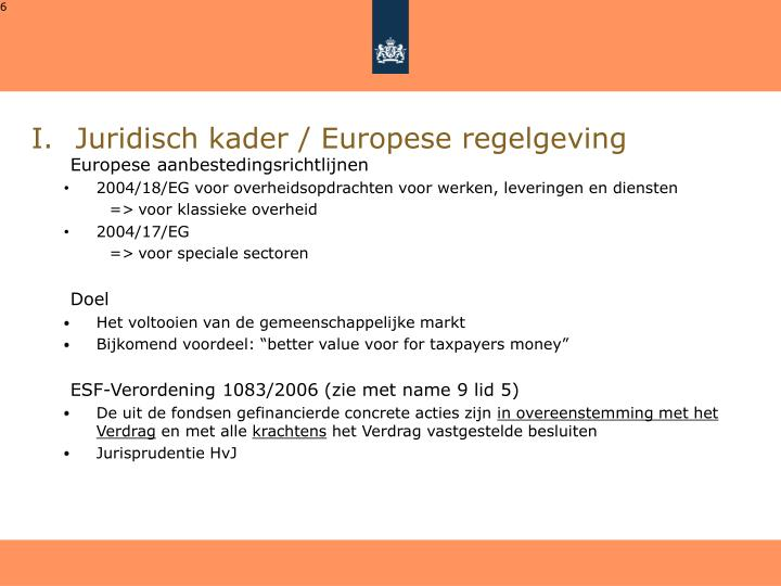 Juridisch kader / Europese regelgeving