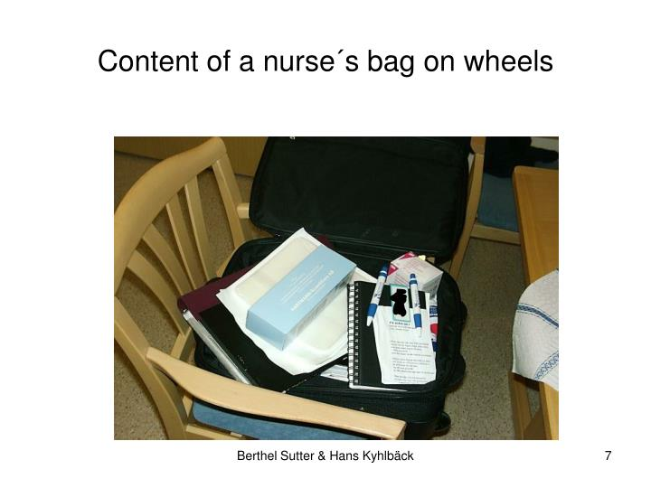 Content of a nurse´s bag on wheels
