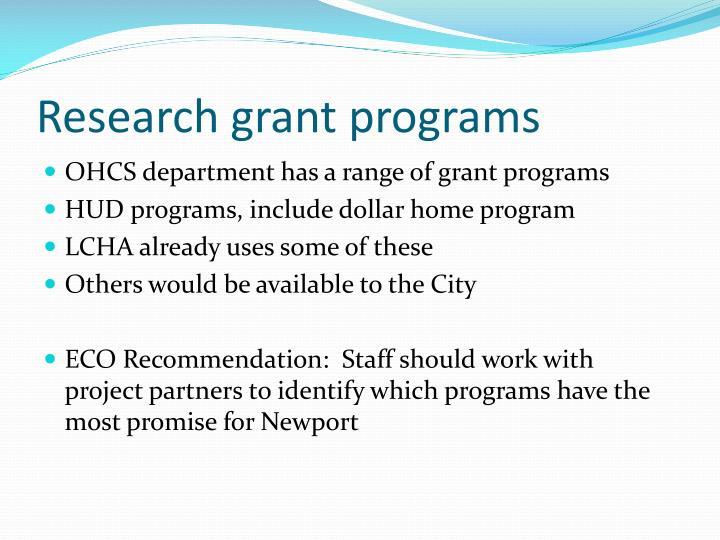 Research grant programs