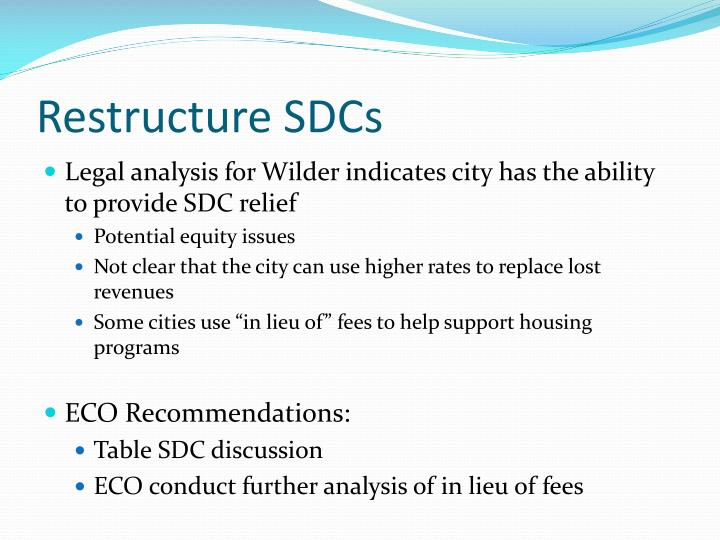 Restructure SDCs