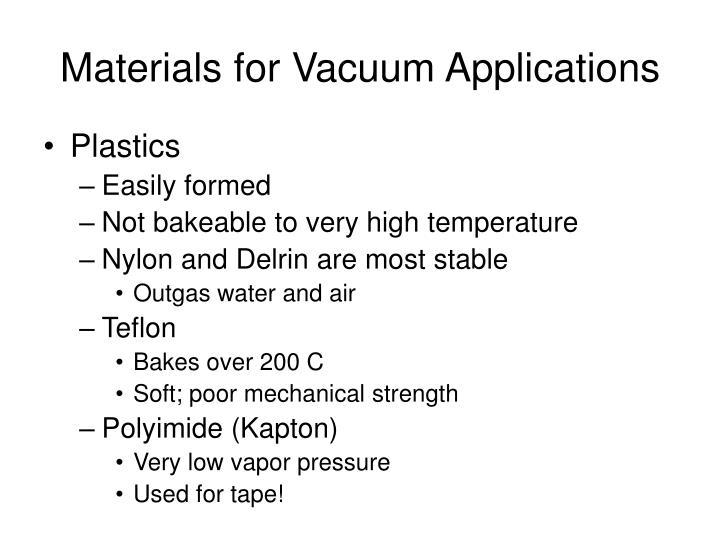 Materials for Vacuum Applications