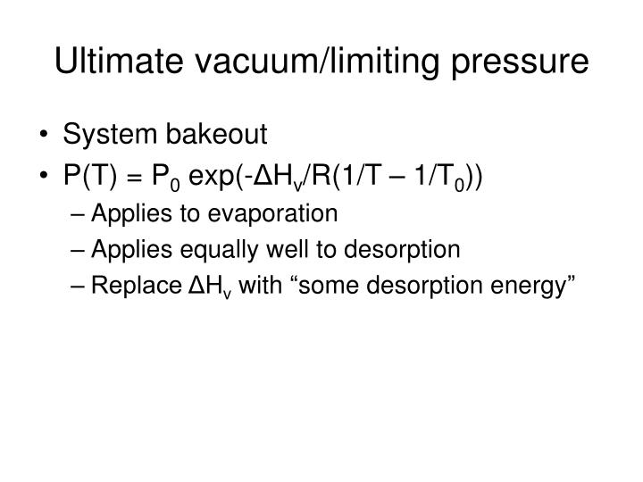 Ultimate vacuum limiting pressure