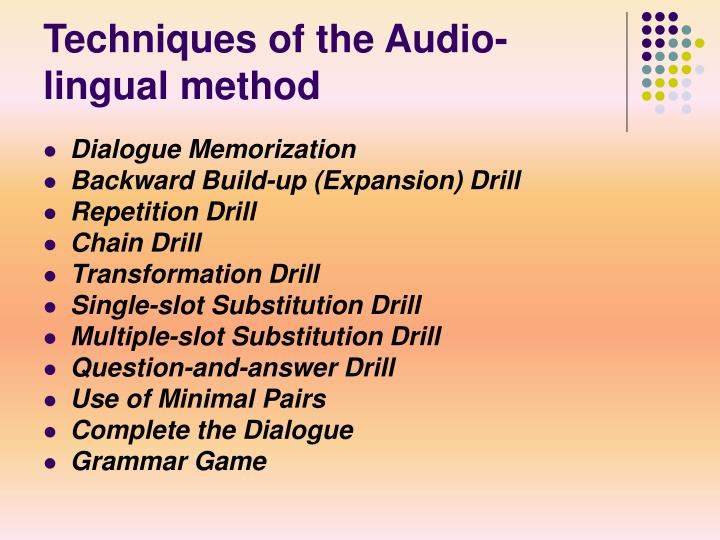 Techniques of the Audio-lingual method