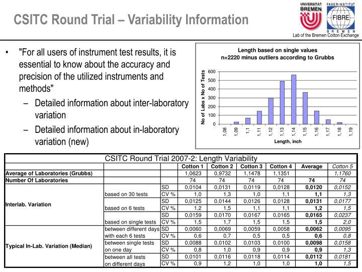 CSITC Round Trial – Variability Information