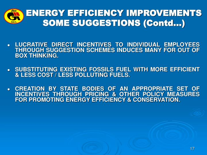 ENERGY EFFICIENCY IMPROVEMENTS SOME SUGGESTIONS (Contd…)