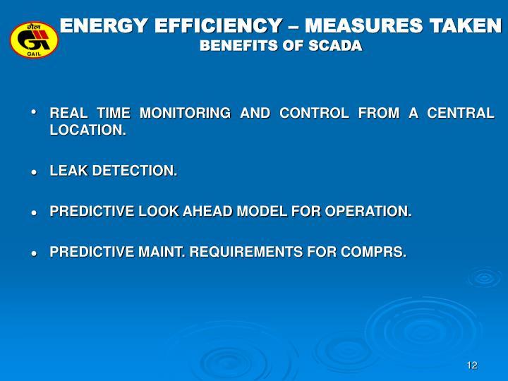 ENERGY EFFICIENCY – MEASURES TAKEN