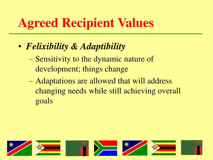 Agreed Recipient Values