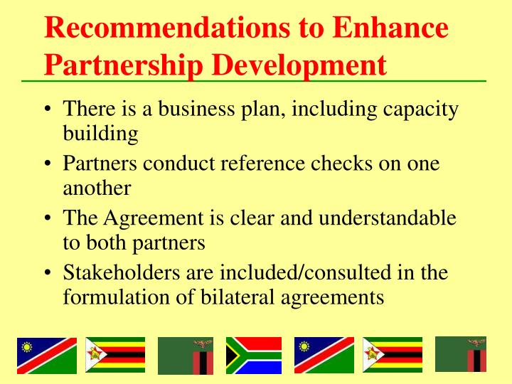 Recommendations to Enhance Partnership Development