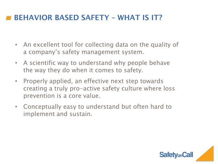 Behavior based safety – what is it?