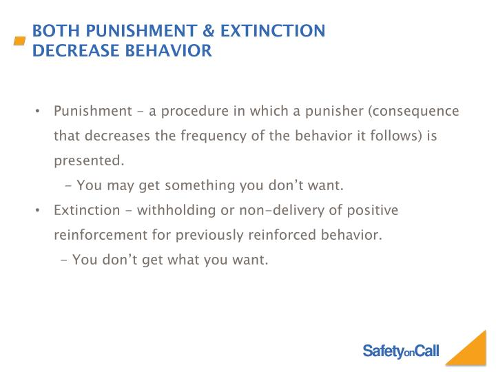 Punishment - a procedure in which a punisher (consequence that decreases the frequency of the behavior it follows) is presented.