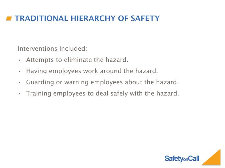 Traditional hierarchy of safety