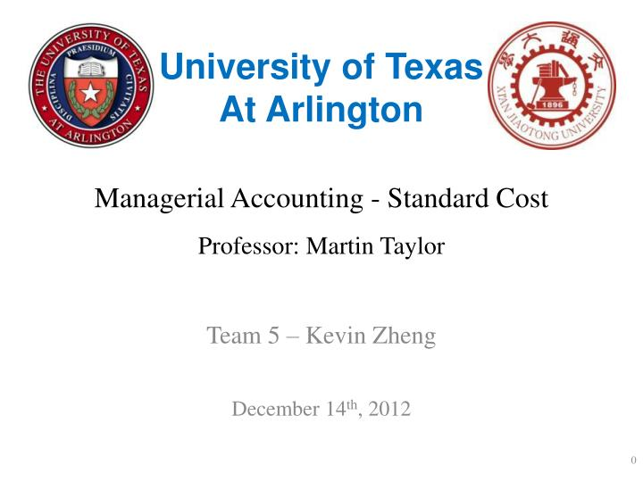 managerial accounting standard cost professor martin taylor n.