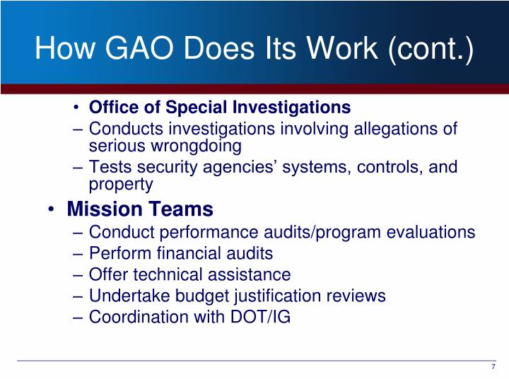 How GAO Does Its Work (cont.)